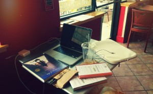 artistic rendering of my workspace at the local cafe yesterday.