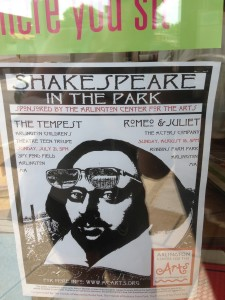Poster for Arlington Shakespeare in the park; yes, apparently there is still a theatre company that uses posters