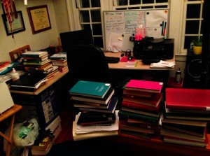 Shot of my desk... and my book fort.  Yup.  It's a book fort.