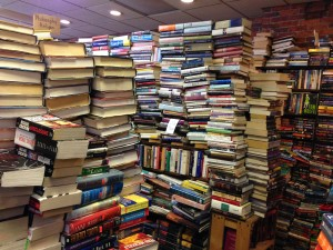 Not my book fort, but some days it feels this way.  This is a used bookstore in Salem, MA.