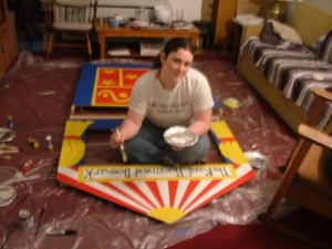 "This is the earliest readily available picture of myself that I can find.  I'm in my New York Apartment living room painting a set for ""Complete Works of William Shakespeare [abrgd]""."