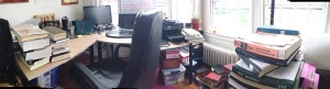 A pano of my book fort that I took to show the other fellows what my workspace looks like