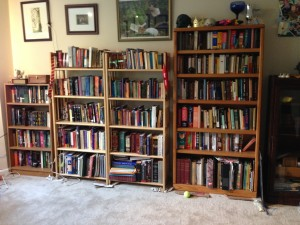 My library all cozily settled in.