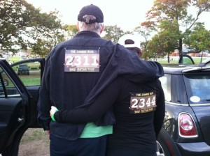 Me and my honey rocking our bibs at the 2014 Massachusetts  Zombie Run (no affiliation with the app)