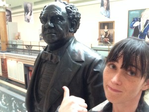 Museums can be a cheap way of getting out and staying mentally in the game. This is me an P.T. Barnum (i.e.: My chapter 4) at the National Portrait Gallery in DC