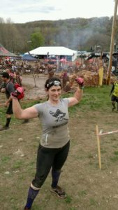 Taken just before the finish line on my Beast.  You can... not really see the wardrobe malfunction I mention (but trust me, it's there)