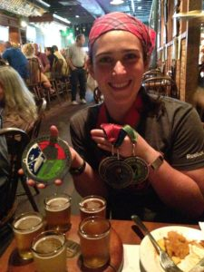 post-race beer with my medals